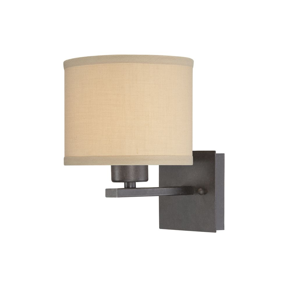 Iron wall sconce with beige drum shade amipublicfo Images