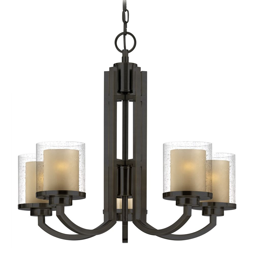 Modern chandelier with amber glass in bolivian bronze finish mozeypictures Image collections