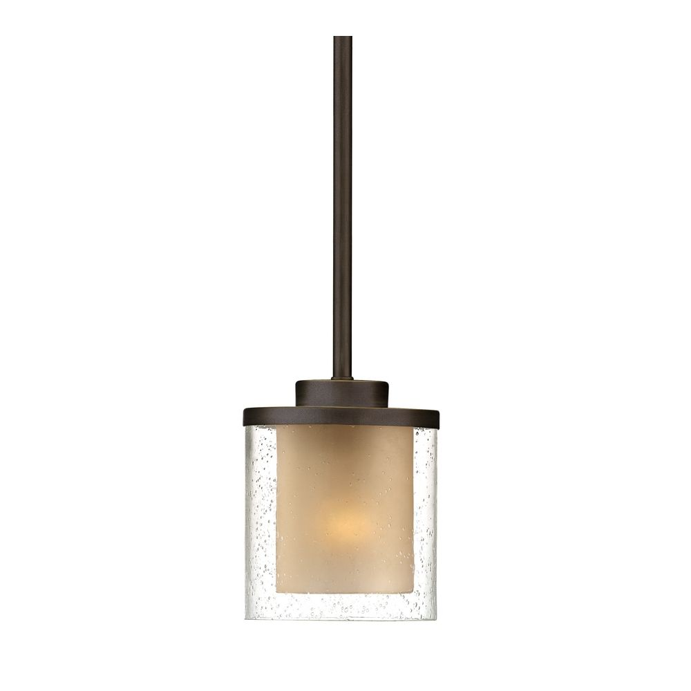 modern mini pendant light with amber glass