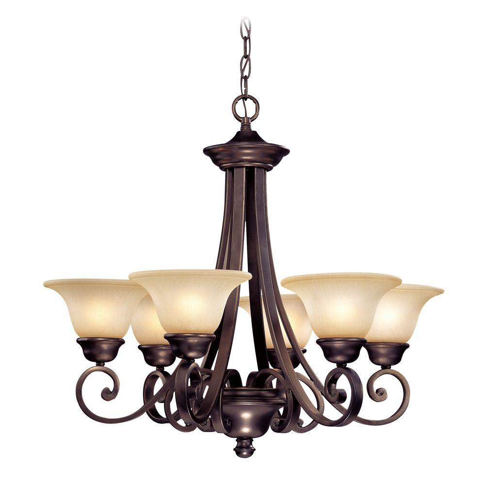 Six light chandelier with bell shaped glass shades brittany six light chandelier aloadofball Choice Image