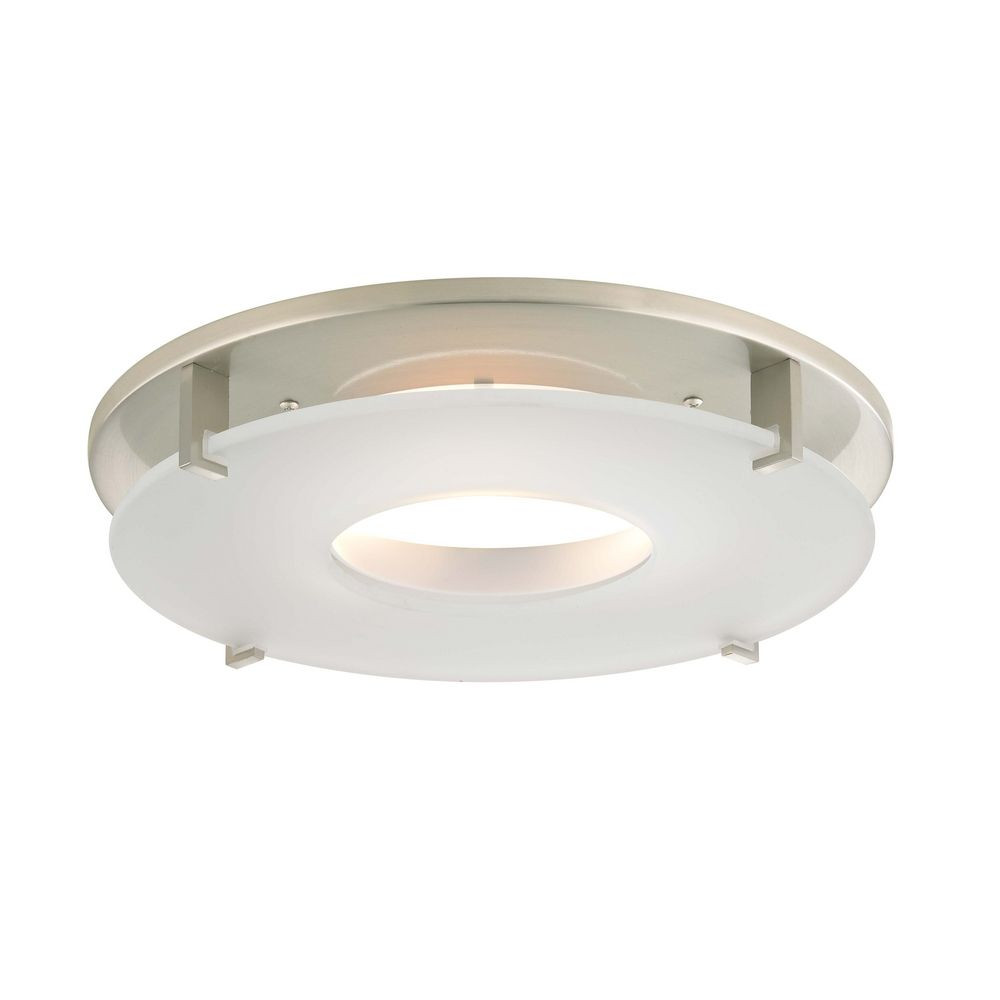 Satin Nickel Decorative Recessed Lighting Trim With Frosted