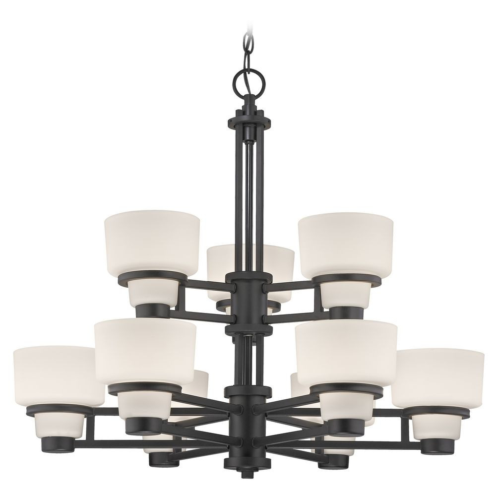 Modern chandelier with white glass in warm bronze finish saxon nine light two tier chandelier arubaitofo Image collections