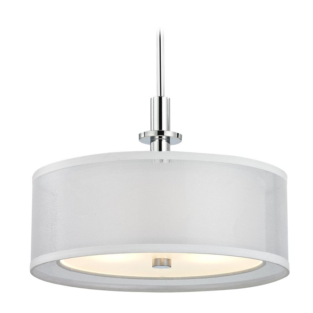 Modern drum pendant light with white shade in chrome finish double organza three light pendant mozeypictures Gallery
