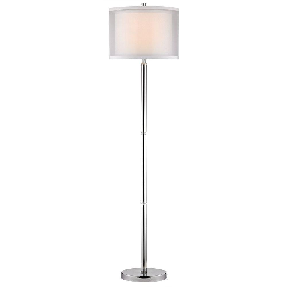 Double Organza 3-Way Chrome Floor Lamp