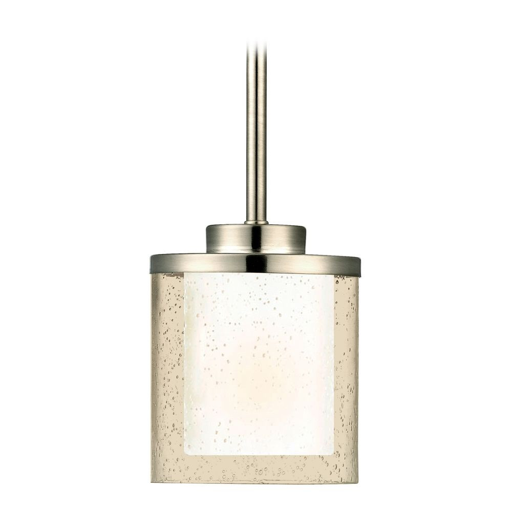 modern mini pendant light with clear seedy and white glass shades. Black Bedroom Furniture Sets. Home Design Ideas