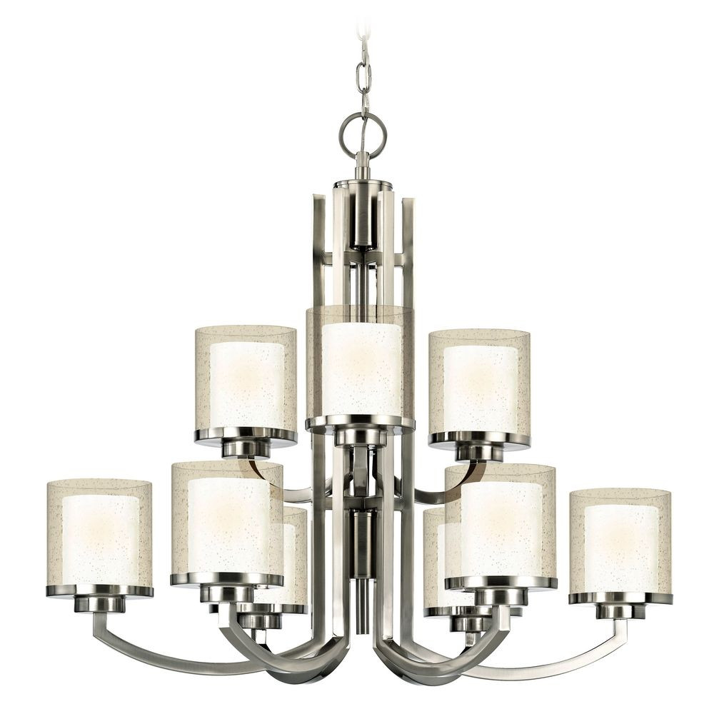 Modern two tier chandelier with clear seedy and white glass shades horizon nine light two tier chandelier aloadofball Gallery