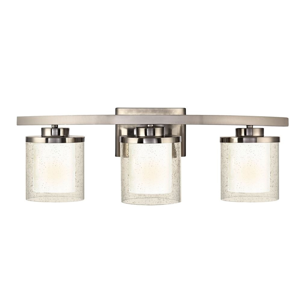 Modern Bathroom Light with Clear Seedy and White Gl Shades on three light island light, three light wall sconce, vertical vanity light fixture, three light bathroom sconce, heat lamp recessed light fixture, three light vanity light, three light table lamp,