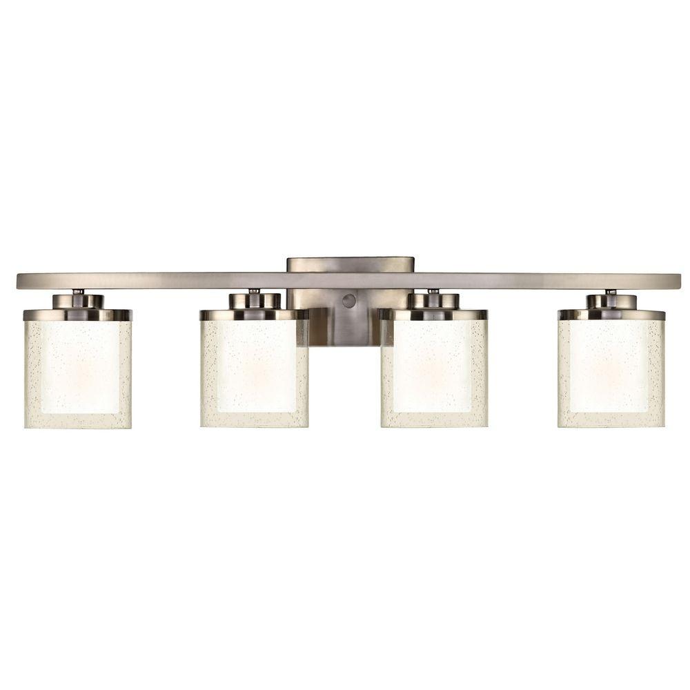 Modern bathroom light with clear seedy and white glass shades horizon four light bathroom fixture aloadofball Gallery