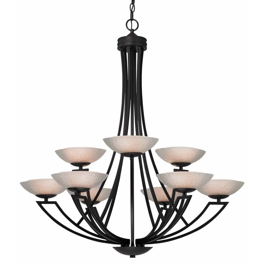 Bronze chandelier with nine lights and seeded glass shades delany nine light two tier chandelier arubaitofo Image collections
