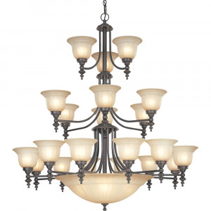 Richland Twenty-Four Light Three-Tier Chandelier