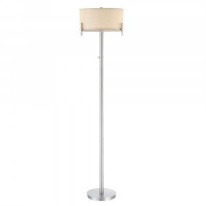 Contemporary Floor Lamp with Beige Drum Shade