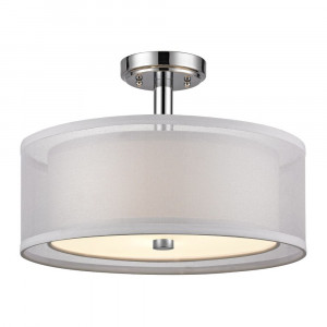 Double Organza Three Light Semi-Flushmount Ceiling Light