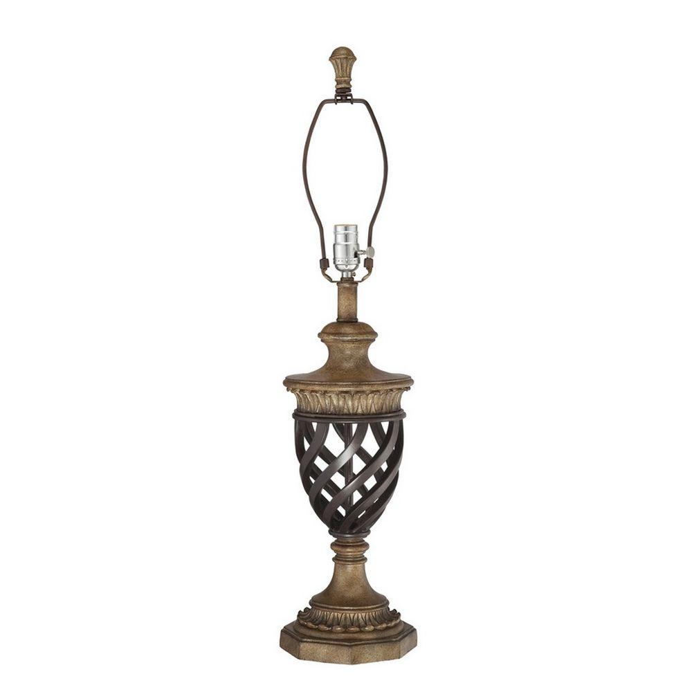 Modern Bronze Table Lamp With Three Way Switch 3 Brass Light Urn Decorative Weave Pattern