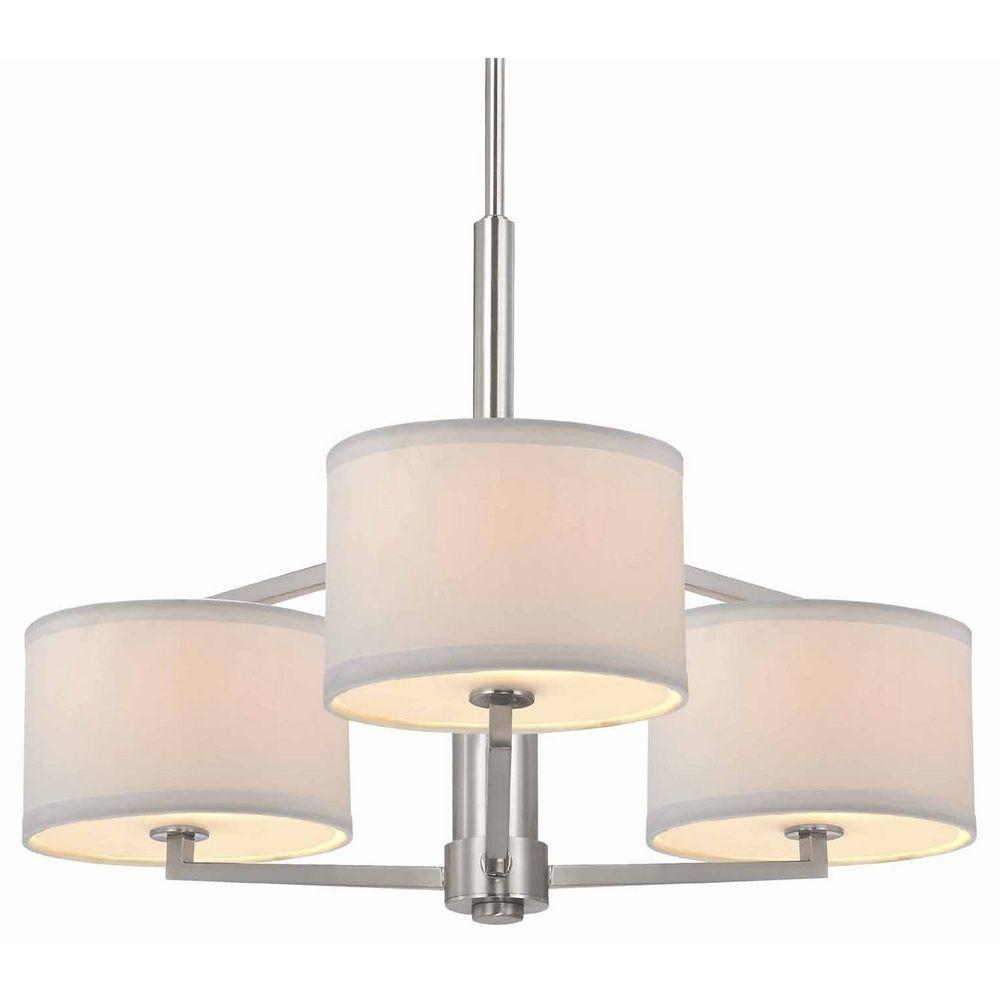Monaco three light semi flush ceiling light chandelier with drum shades three lights aloadofball Gallery