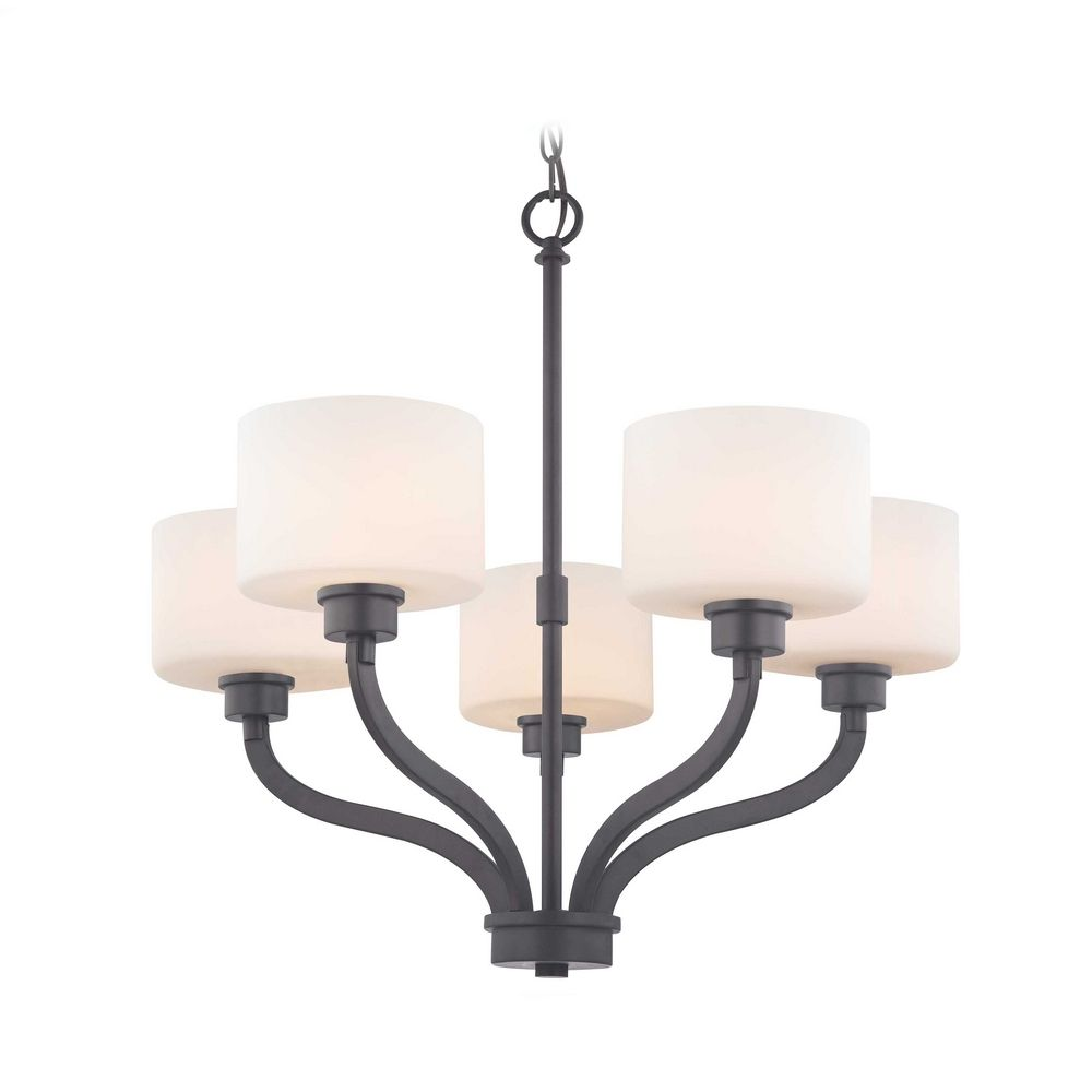 Bronze chandelier with white glass drum shades and five lights aloadofball Choice Image