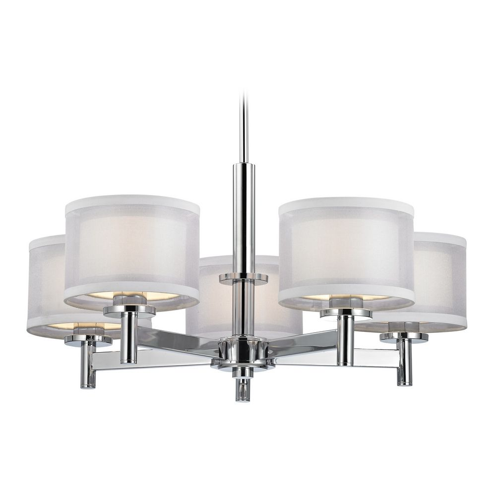 Modern chandelier with white shades in chrome finish aloadofball Gallery