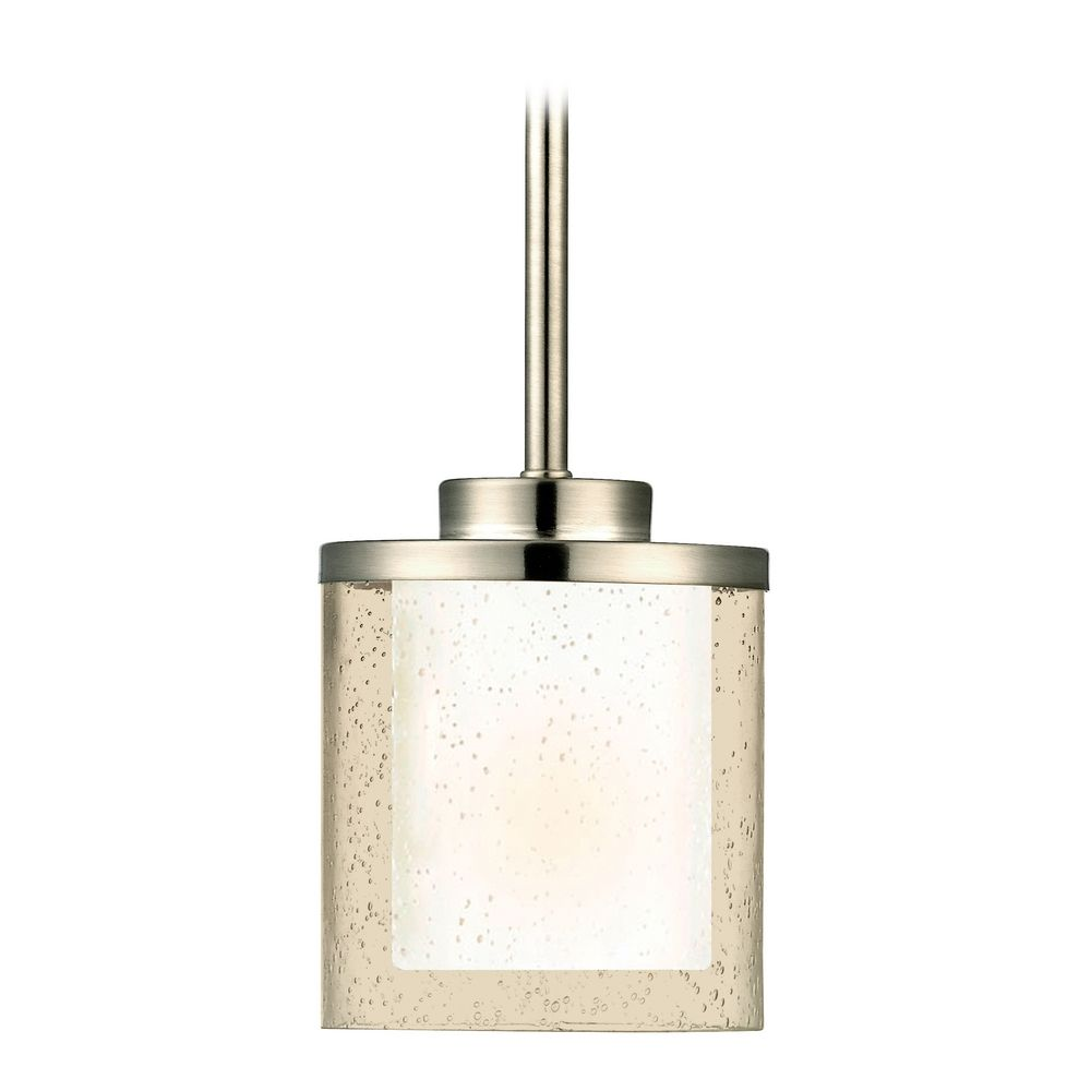 modern mini pendant light with clear seedy and white glass shades