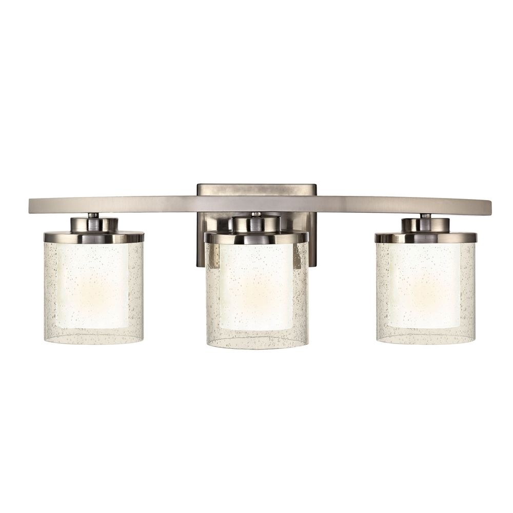Modern Bathroom Light with Clear Seedy and White Glass Shades