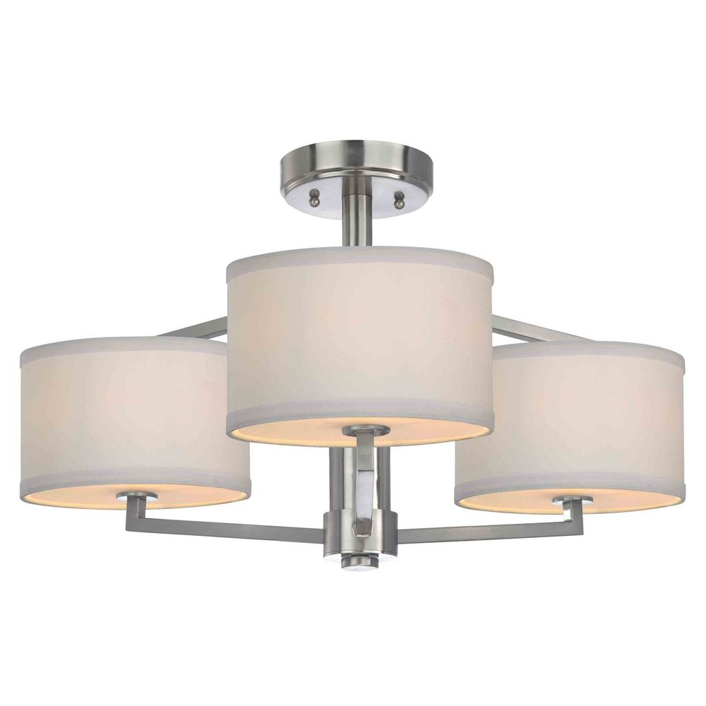 . Semi Flush Ceiling Light with Drum Shades